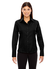 North End 78635 Women Legacy Wrinkle Free TwoPly 80 Cotton Jacquard Taped Shirt
