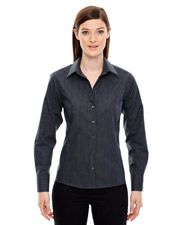 North End 78674   Women Ladies' Boardwalk WrinkleFree TwoPly 80's Cotton Striped Tape Shirt at GotApparel