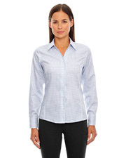 North End 78688   Women Ladies' Iconic WrinkleFree TwoPly 80's Cotton Checkered Dobby Twill Taped Shirt at GotApparel