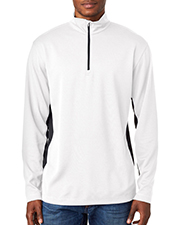 UltraClub 8237   Adult 2Tone Keyhole Mesh 1/4Zip Pullover at GotApparel