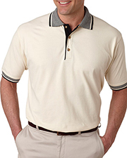 UltraClub 8537  Adult Color-Body Classic Pique Polo with Contrasting Multi-Stripe Trim at GotApparel
