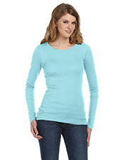 Bella + Canvas Ladies' Sheer Mini Rib Long-Sleeve T-Shirt