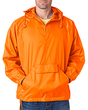 UltraClub 8925 Men 1/4Zip Hooded Pullover PackAway Jacket