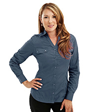Tri-Mountain 919 Women's Woven Long Sleeve Shirt with Epaulette at GotApparel