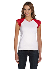 Bella + Canvas B2020 Women Stretch Rib CapSleeve Contrast Raglan TShirt