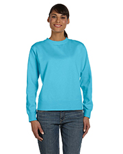 Womens Garment-Dyed Wide-Band Crew Neck Fleece