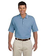 Devon & Jones Blue D113 Mens Pima Pique Short-Sleeve Tipped Polo at GotApparel