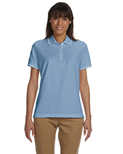 Devon & Jones Blue D113W Ladies Pima Pique Short-Sleeve Tipped Polo at GotApparel