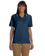 Devon & Jones Classic D140W  Ladies Tipped Interlock Polo at GotApparel