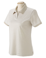Devon & Jones Blue D350W  Ladies Northport Striped Polo at GotApparel