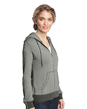 District DM490 Women Made    Ladies Mini Stripe FullZip Hoodie