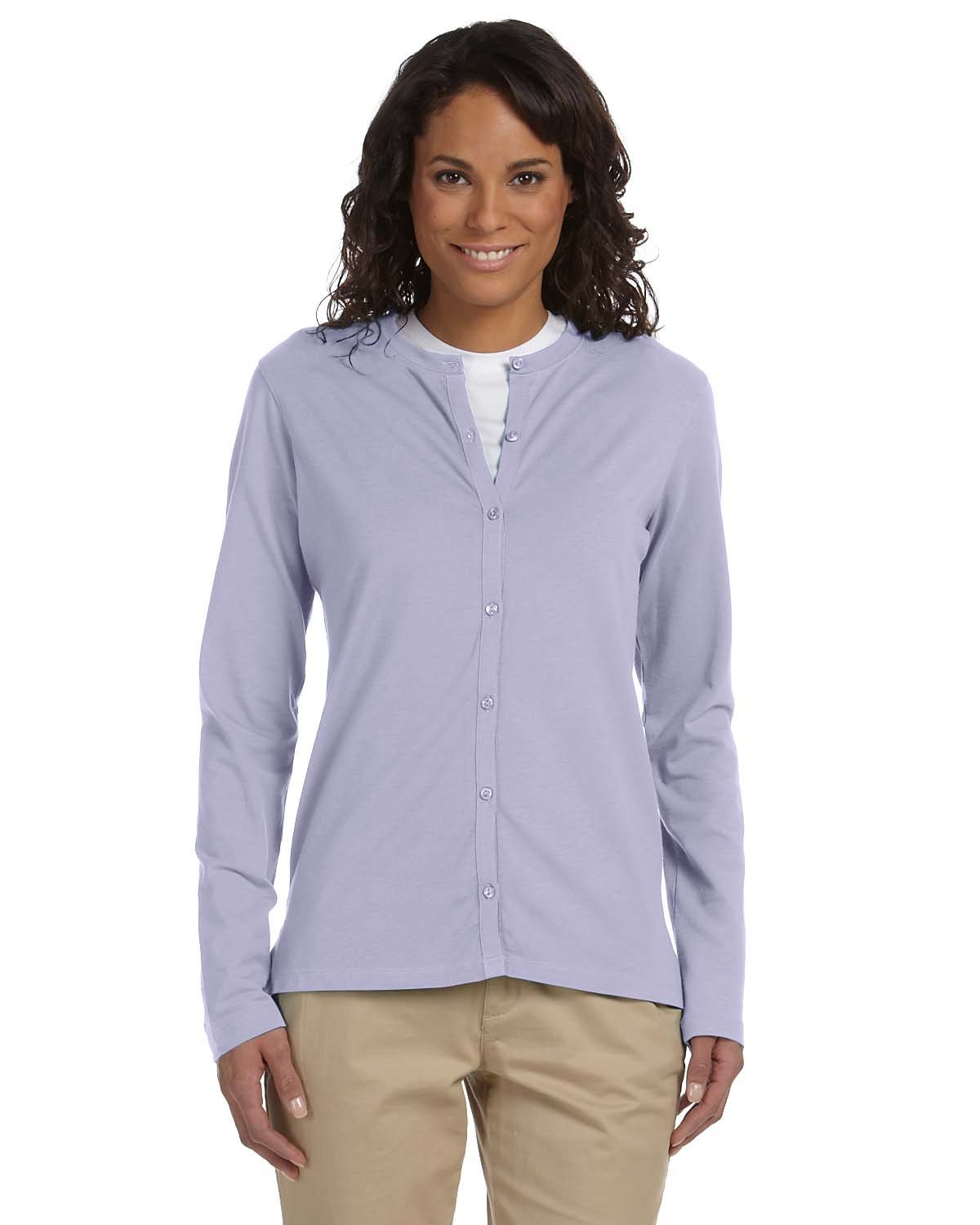 Devon & Jones Pink DP170W  Stretch Jersey Long-Sleeve Cardigan at GotApparel