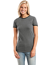 District Threads DT225  Junior Ladies Heathered Jersey Perfect Weight Ringer Tee at GotApparel