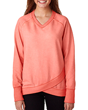 J America J8666 Women Oasis Wash Crisscross VNeck Fleece at GotApparel