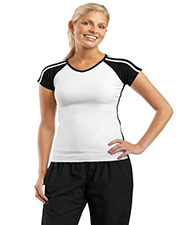 Sport-Tek L205  Ladies V-Neck Colorblock T-Shirt at GotApparel