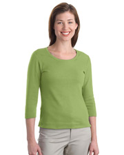 NEW Port Authority Ladies Modern Stretch Cotton 3/4-Sleeve Scoop Neck Shirt