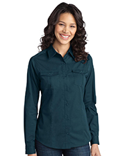 Port Authority L649 Women Stain Resistant Roll Sleeve Twill Shirt