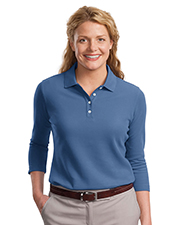 Port Authority L801   Women Ladies EZCotton™ Pique 3/4Sleeve Polo at GotApparel