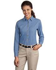 Port & Company LSP10  Ladies Long Sleeve Value Denim Shirt at GotApparel
