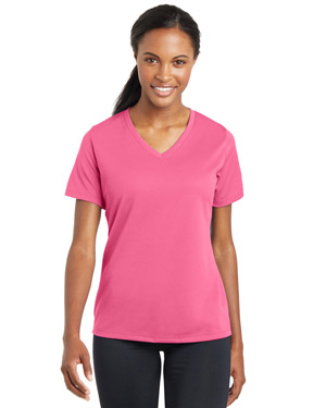 Sport-Tek LST340 Women PosiCharge RacerMesh ™ V-Neck Tee at GotApparel