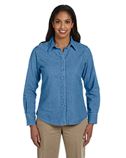 Harriton M550W Women 6.5 oz. Long Sleeve Denim Shirt at GotApparel