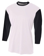 A4 N3294 Men Baseball Tee with 3/4 Sleeves