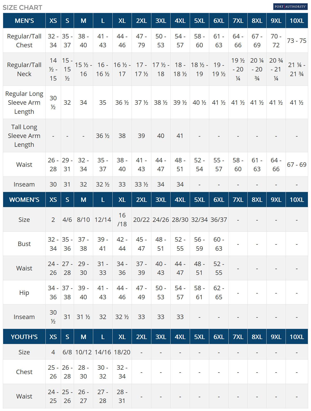 Port Authority Size Chart