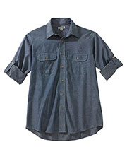 Edwards 1298 Men Chambray Roll-Up Sleeve Shirt at GotApparel