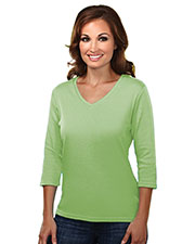 Tri-Mountain 131 Women Mystique Cotton Interlock 3/4 Sleeve V-Neck Knit at GotApparel