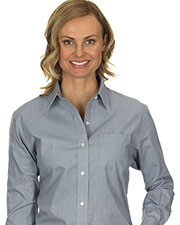 Van Heusen 13V0236 Women Long Sleeve Easy Care Feather Stripe Dress Shirt at GotApparel