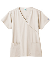 White Swan 14351 Fundamentals Mock Wrap Top With 3 Pockets at GotApparel