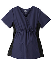 White Swan Brands 14375  Fundatals   Maternity Mock Wrap Top With Side Stretch Panels.  26.5 Length.  3 Pockets - 1 Hidden Cell Pocket.      Adjustable Drawstring At Empire Waist. at GotApparel