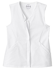 White Swan 14752 Fundamentals Hidden Placket Button Front Vest at GotApparel