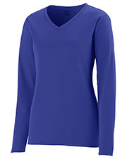 Augusta 1788 Women Long Sleeve Wicking V-Neck TShirt at GotApparel