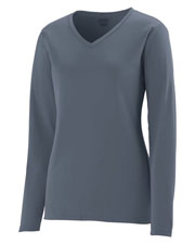 Augusta 1789 Girls Long Sleeve Wicking V-Neck TShirt at GotApparel