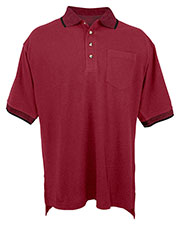 Tri-Mountain 197 Men Mercury Cotton Pique Pocketed Short Sleeve Golf Shirt With Jacquard Trim at GotApparel