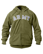 Rothco 2093 Men Vintage Army Zipper Hooded Sweatshirt at GotApparel