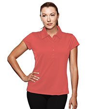 TRI-MOUNTAIN PERFORMANCE 221 Women California Poly Ultracool Capped Sleeves Golf Shirt With Self-Fabric Collar at GotApparel