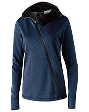 Holloway 229360 Women Polyester Fleece Full Zip Hooded Artillery Angled Jacket at GotApparel