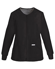 Cherokee 2306 Women Zip Front Knit Panel Warm-Up Jacket at GotApparel