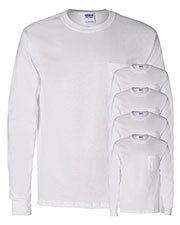 Gildan G241 Men Ultra Cotton 6 Oz. Long-Sleeve Pocket T-Shirt 5-Pack at GotApparel