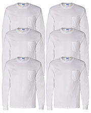 Gildan G241 Men Ultra Cotton 6 Oz. Long-Sleeve Pocket T-Shirt 6-Pack at GotApparel