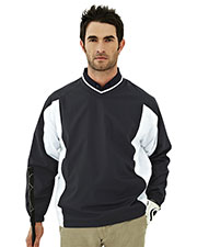 Tri-Mountain 2550 Men Warrior Micro V Neck Long Sleeve Wind Shirt at GotApparel