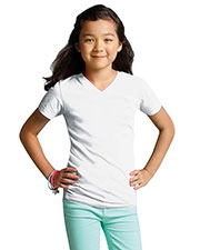 LAT 2607 Girls' Fine Jersey V-Neck Short Sleeve T-Shirt at GotApparel