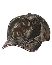Kati LC924 Unisex Camouflage Cap with American Flag Sandwich Bill at GotApparel