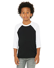 Bella + Canvas 3200y  Youth 3/4-Sleeve Baseball T-Shirt at GotApparel
