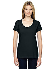 LAT 3504 Adult Fine Jersey Deep Scoop Neck Longer Length T-Shirt at GotApparel