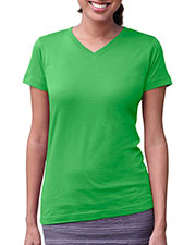 LAT 3507 Women Fine Jersey V-Neck Longer Length T-Shirt at GotApparel