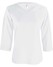 LAT 3577  Ladies' Jersey V-Neck 3/4 Sleeve T-Shirt at GotApparel