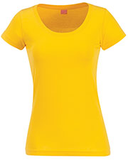 LAT 3604 Adult Fine Jersey Deep Scoop Neck Longer Length T-Shirt at GotApparel